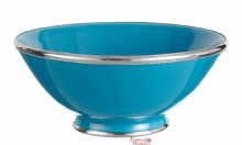 Moroccan Ceramic Bowl Turquoise with Silver Edge Large Handmade 30 cm / 11.8""
